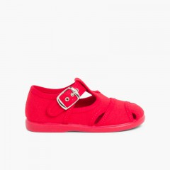 Boys Canvas T-bar Sandals Red