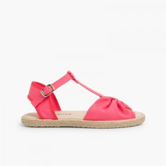 Girls Flat Esparto Sandals Pink