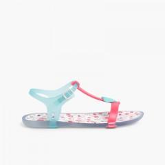 Girls Rubber Sandals Tricia Love Fuchsia and Aquamarine