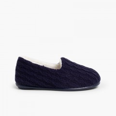 Kids Cable Knit Slippers Navy Blue