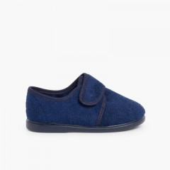 Kids Riptape Slippers Navy Blue