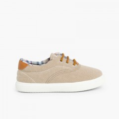 Contrast Lace-Up Canvas Sneakers Sand