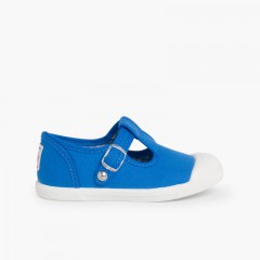 Boys T-Bar Canvas Shoes Rubber Toe Royal blue