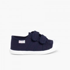 Kids Riptape Canvas Trainers Navy Blue
