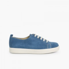 Split Leather Lace-up Trainers  Blue denim