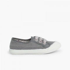 Lace-Up Rubber Toe Cap Canvas Trainers Grey