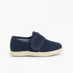 loop fasteners Blucher Shoes Espadrille Sole Navy Blue
