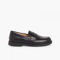 School Moccasins Black