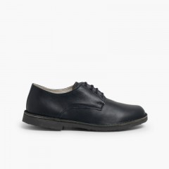 Blucher-style children's leather shoes Navy Blue