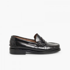 Leather Slip-on Loafers  Black