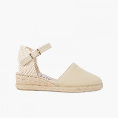 wedge espadrilles with buckle for girls Beige
