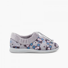 Adjustable slippers house mice Gris y Azul