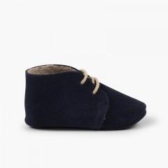 Booties desert boots furry inner liner  Navy Blue