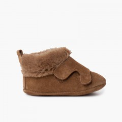 Suede baby booties fur lining Taupe