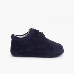 Suede Bluchers for Baby Navy Blue