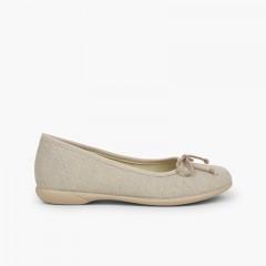 Linen Communion Ballet Flats for Girls Off-White