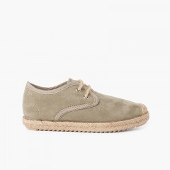 Faux Suede Blucher with Jute Toe and Laces Verde Oliva