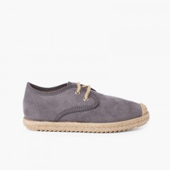 Faux Suede Blucher with Jute Toe and Laces Grey