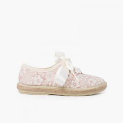 Flowers and Jute Blucher with Satin Laces Blush pink
