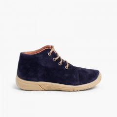 Suede Boots Kids Reinforced Toes Navy Blue