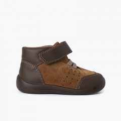 Reinforced leather toe and heel booties with riptape Brown
