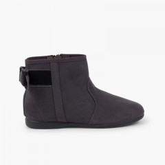 Boots with velvet bow and zip closure Grey