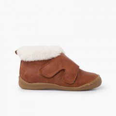 Fur collar bootie with wide strap Leather
