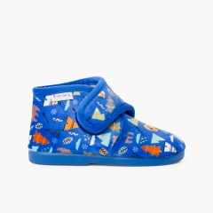 Printed slip-on closure house boots Azul Bosque