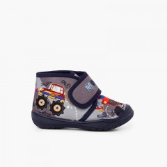 Reinforced Toe Slipper Boots with Drawings Grey Monster Trucks