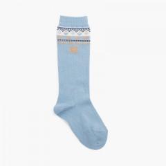 Bear high socks Blue