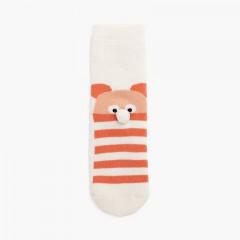 Bear pom pom terry slip resistant socks Buttermilk