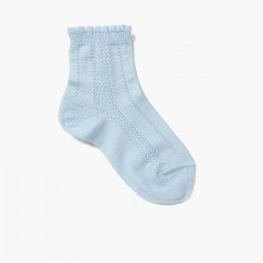 Short Socks with Scalloped Edges Baby Blue