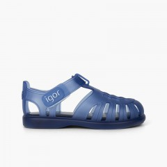 Basic jelly shoes with loop fasteners tobby Navy Blue