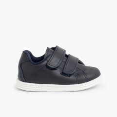 Trainers Infant and Child Washable Leather  Navy Blue