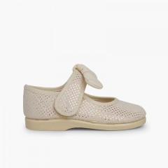 Angel-style Mary Janes with Shiny Microdots Beige