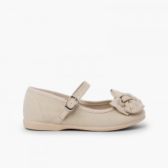Organic Cotton Mary Jane with Bow Sand