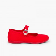 Canvas Mary Janes with Japanese buckle fastening Red