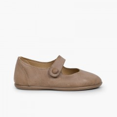 Girls' Leather Mary Janes with loop fasteners and Button Taupe