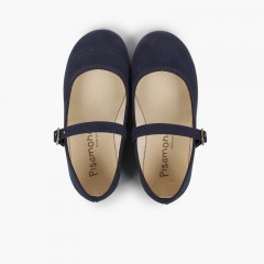 Perforated Serratex Buckle Mary Janes Navy Blue