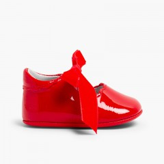 Mary Jane Bootie Patent Leather Velvet Bow  Red