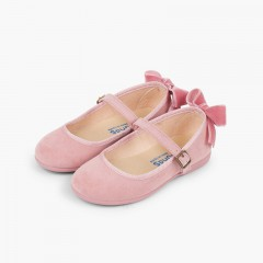 Buckle Mary Janes Velvet Bow in Back Pink