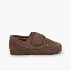 Boys Riptape Suede Loafers Taupe