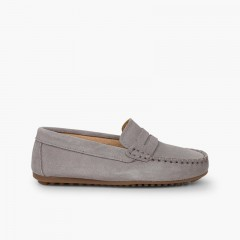 Boys Suede Mask Loafers Light Grey