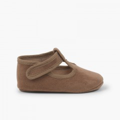 Loop fasteners Serratex Baby Boy T-Bar Shoes  Taupe