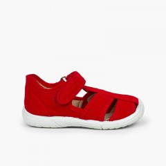 Boys' loop fasteners T-Bar Sandals with Reinforced Toe Red