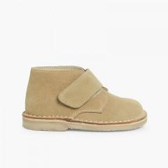 Kids Riptape Suede Desert Boots Sand