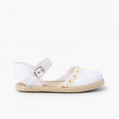 Daisy Espadrille Sandal with Buckle Closure White