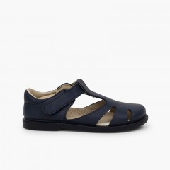 Boys' Leather T-bar Sandals with loop fasteners Navy Blue