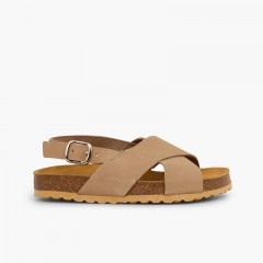 Cross strap sandals in nubuck for kids Taupe