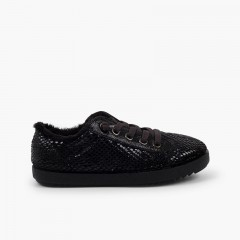 Snake Animal Print Trainers with Fur Lining Black